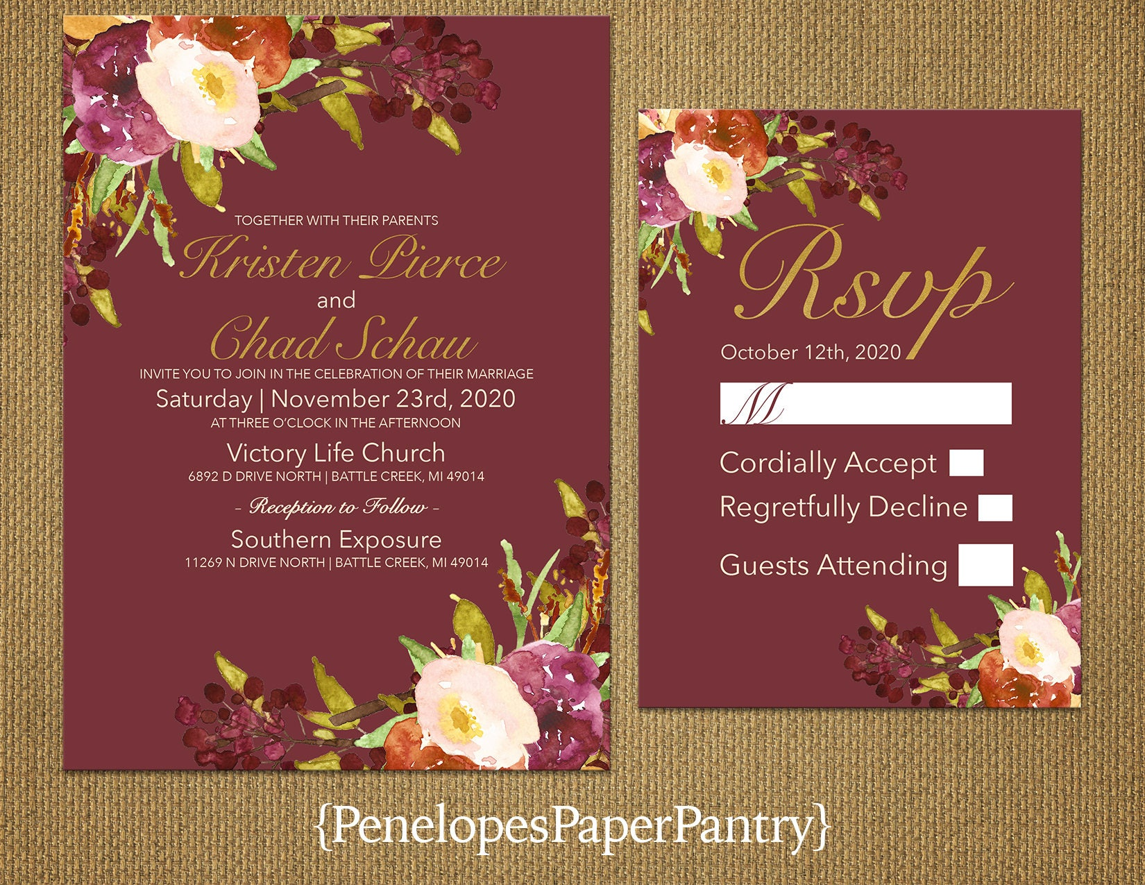 Elegant Marsala Fall Wedding InvitationPlumBurgundyBurnt | Etsy