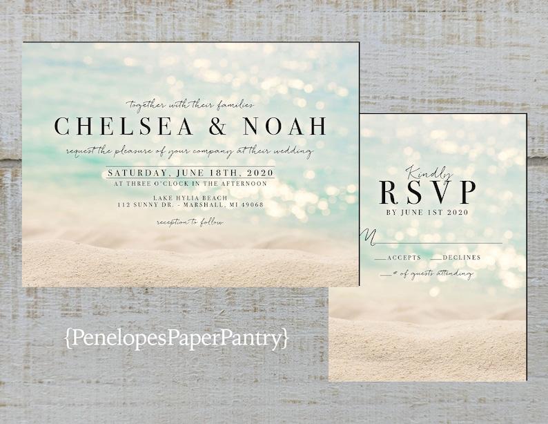 Simple Beach Wedding Invitation,Sandy Beach,Sunshine,Shimmery Water,Destination Wedding,Hawaii Wedding,Shimmery,Printed Invitation,or Sets
