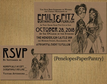 Kraft Paper Corpse Bride Halloween Wedding Invitation,Bride and Groom,Black Text,Unique,Printed Invitation,Wedding Set,Kraft Envelope