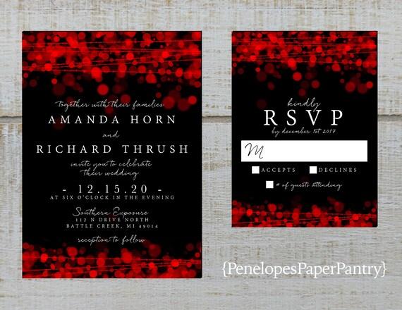 Modern Black And Red Wedding Invitationblackredred Bubble Etsy