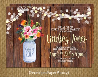 Rustic Graduation Party Invitation,Announcement,Mason Jar,Wildflowers,Fairy Lights,2018,High School,College,Personalize,Printed Cards