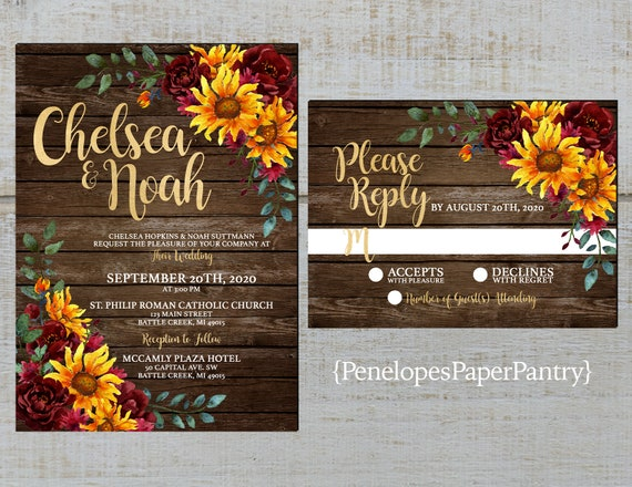 Rustic Sunflower Fall Wedding Photo Save The Date Calendar Card,Burgundy Roses,Barn Wood,Gold Print,Custom,Printed Card,Shimmery