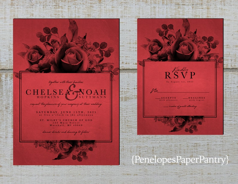 Elegant Red and Black Wedding Invitation,Roses,Calligraphy,Shimmery,Personalize,Printed Invitation,Wedding Set,Envelope