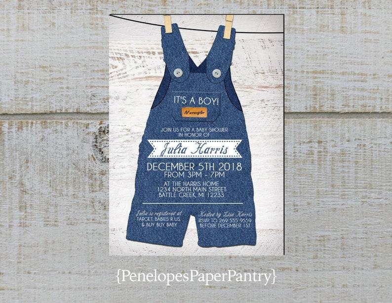 a721e9503312 Rustic Baby Boy Shower InvitationDenim OverallsClothes