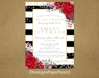 Elegant Black and White Bridal Shower Invitation,Red Roses,Gold Print,Shimmery,Personalize,Printed Invitation,Envelopes