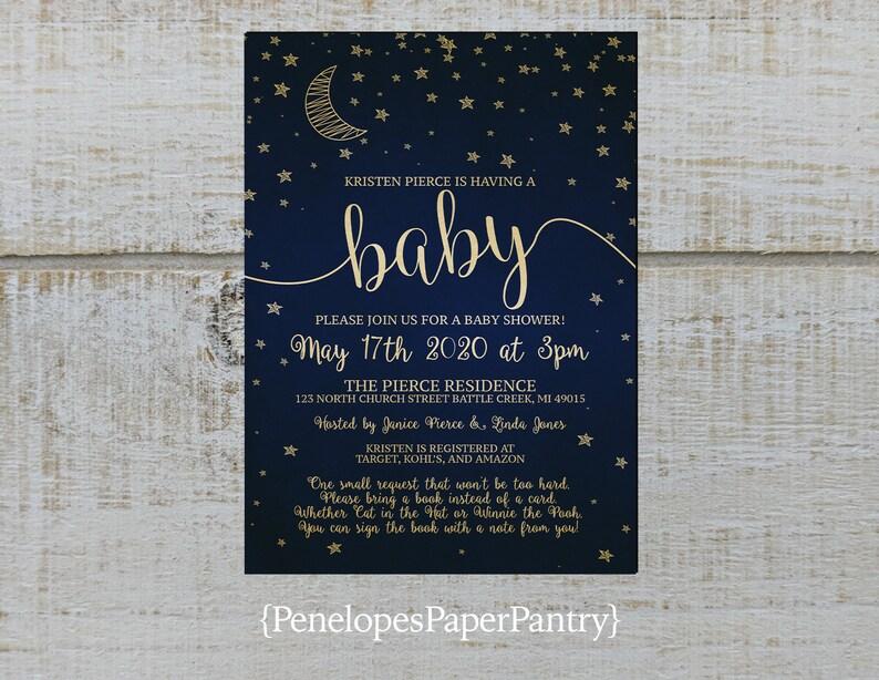 Moon And Stars Baby Shower Invitationnavygoldgender Etsy