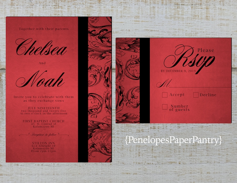 Elegant Red and Black Wedding Invitations,Sophisticated Flourishes and Scrolls,Shimmery,Formal,Opt RSVP,Customizable