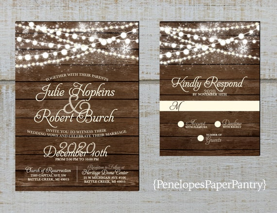 100 Personalized Rustic Winter Snowflake Wood Wedding Invitation with Envelopes