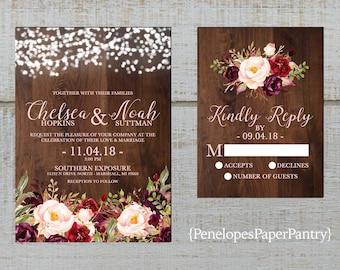 Rustic Fall Wedding Invitation,Burgundy,Marsala,Blush,Fairy Lights,Barn Wood,Rustic,Romantic,Custom,Printed Invitation,Wedding Set