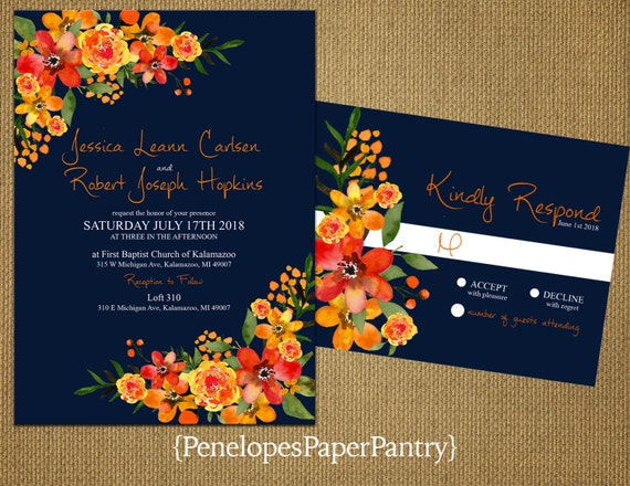 Fall Color Wedding Invitations: Romantic Navy Rustic Fall Wedding