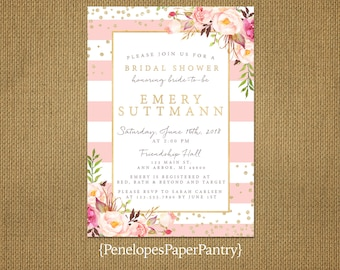 Chic Pink and White Stripe Summer Bridal Shower Invitation,Blush,Pink,Roses,Gold Print,Shimmery,Personalize,Printed Invitations,Envelopes