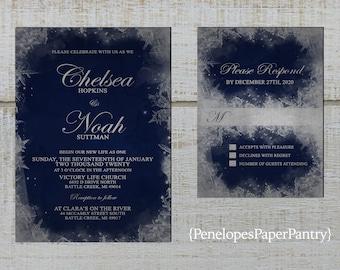 Elegant Navy Winter Wedding Invitations,Navy Blue,Silver,Frozen,Frosty,Snowflakes,Shimmery,Custom,Printed Invitation,Wedding Set