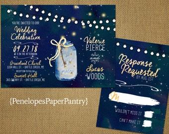 Rustic Summer Wedding Invitations,Mason Jar,Fireflies,Summer Starry Night Sky,Fairy Lights,Printed Invites,Opt RSVP,Customizable,Envelopes