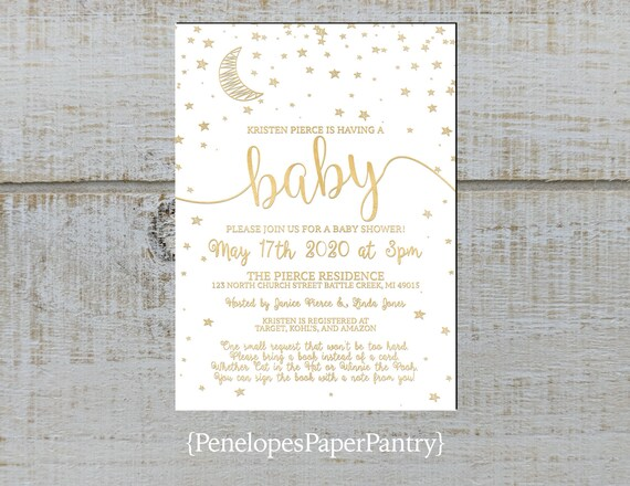 Moon And Stars Gender Neutral Baby Shower Invitationgold Etsy