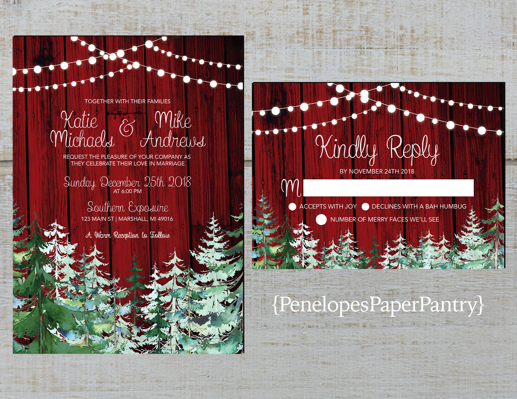 Rustic Winter Wedding InvitationRedBarn WoodSnowEvergreen | Etsy