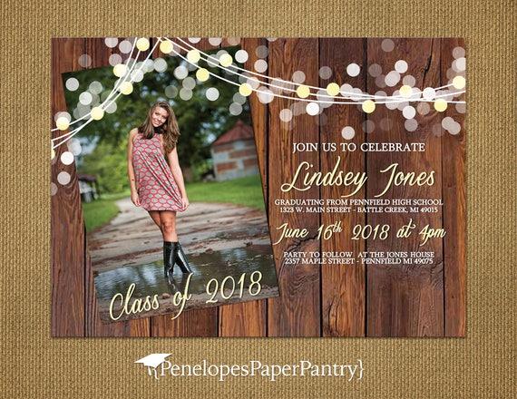 Rustic graduation invitation and graduation announcement high etsy image 0 filmwisefo