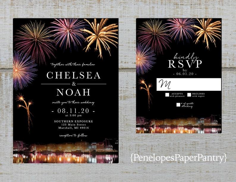 Elegant 4th of July Wedding Invitation,July 4th,Firework Bursts,Firework Display,Shimmery,Simple,Custom,Printed Invitation,Wedding Set