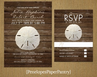 Rustic Beach Sand Dollar Wedding Invitation,Beach Wedding,Destination,Tropical,Hawaii,East Coast,Ocean,Romantic,Custom,Printed Invitation