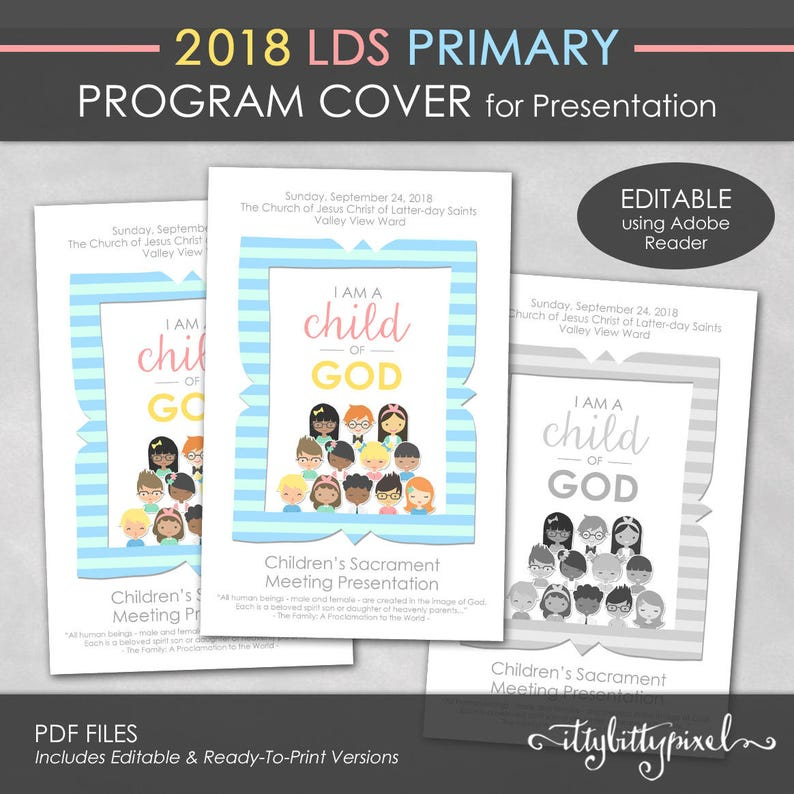Lds 2018 Primary Presentation Program Cover I Am A Child Of Etsy