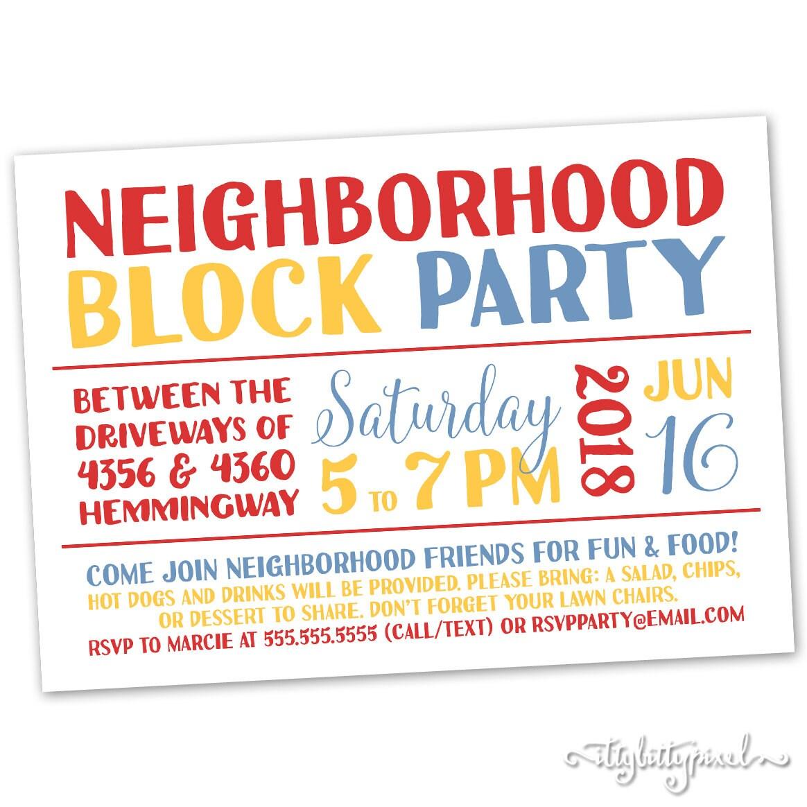Nachbarschaft Block Party-Einladung Ankündigung Karte