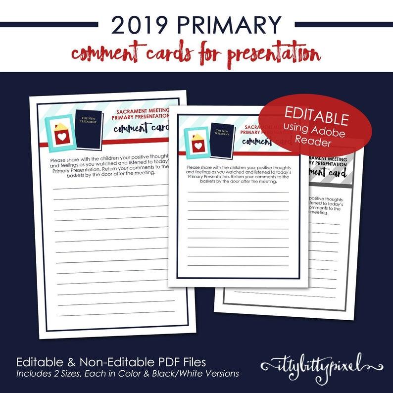 LDS 2019 Primary Comment Cards - Come Follow Me New Testament Theme  PRINTABLE Editable PDF Program Sacrament Meeting Presentation P001