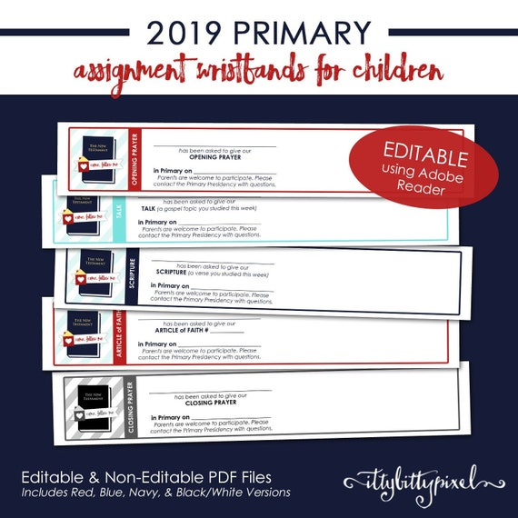 LDS 2019 Primary Assignment Wristband - Come Follow Me New Testament Theme  PRINTABLE Editable PDF Reminder Card Presidency Handouts P001