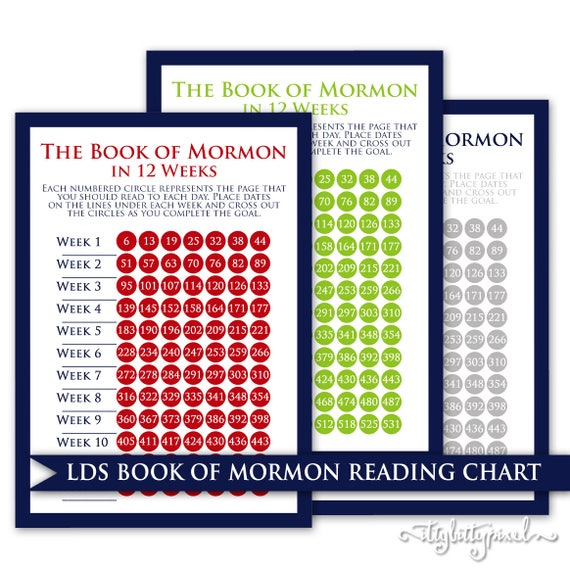 Book Of Mormon Scripture Reading Chart Lds 12 Week Young Men Duty God Priesthood Digital Printable Sunday School Come Follow Me Challenge