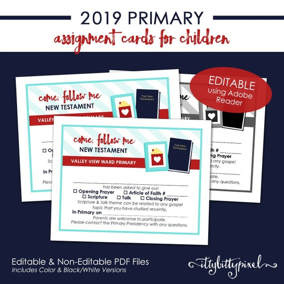 LDS 2019 Primary Assignment Cards Come Follow Me New   Etsy fc665aa9971