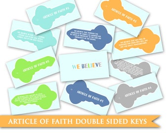 Articles of Faith Keys - LDS PRINTABLE Digital Memorizing Help Goal Primary Faith In God Boy Girl Young Women Men Family Home Evening