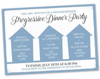 Progressive dinner etsy progressive dinner party invitation stopboris Image collections