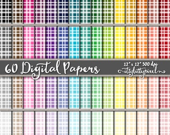 Plaid Digital Paper, Small Plaid Scrapbooking Paper, Plaid Scrapbook Paper, Grid Paper, Plaid Paper, Square, Flannel Paper, Commerical Use