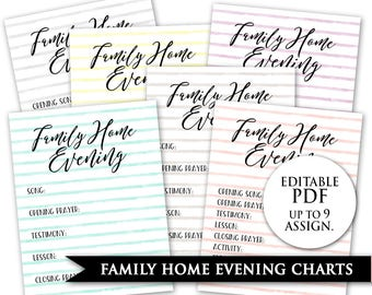 Family Home Evening Chart - LDS Editable Pdf PRINTABLE Digital FHE Assignment Jobs Board Family Night Help Customize Custom Personalize