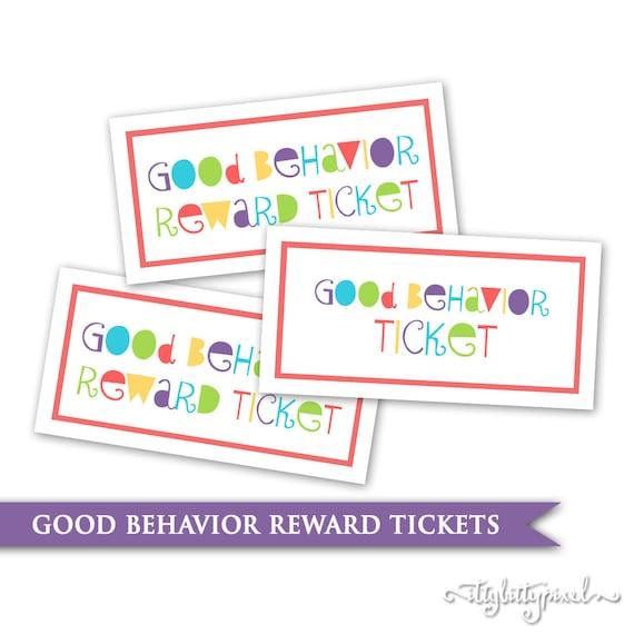 Kids Behavior Tickets Printable Digital PDF Reward System   Etsy