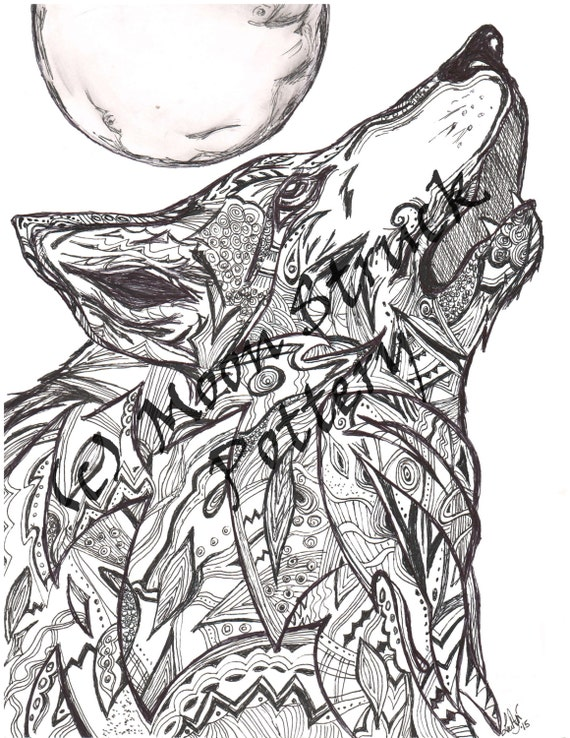 Animal Coloring Page Wolf Adult