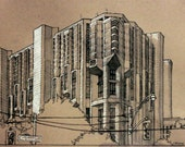 Original Ink Drawing of the Robarts Library, University of Toronto