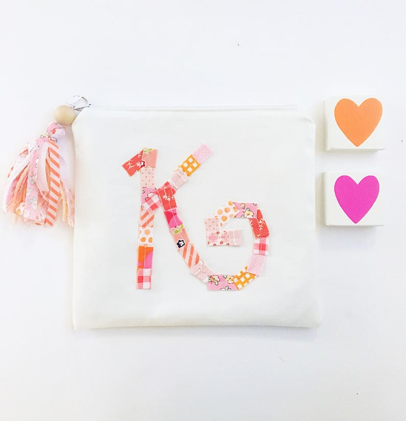 Monogram Pouch Initial Zipper Pouch with Fabric Tassel