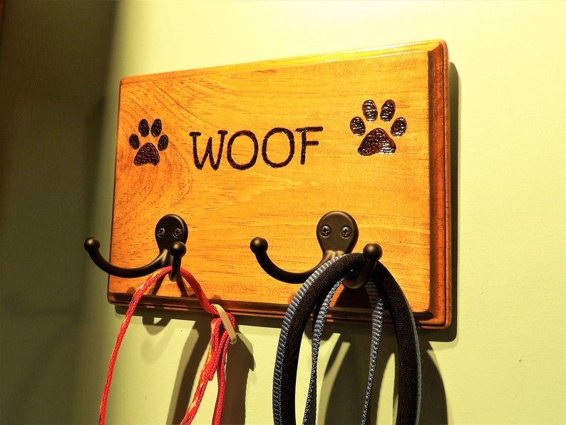 Personalised Engraved Wooden Dog Lead Holder Only £19.99