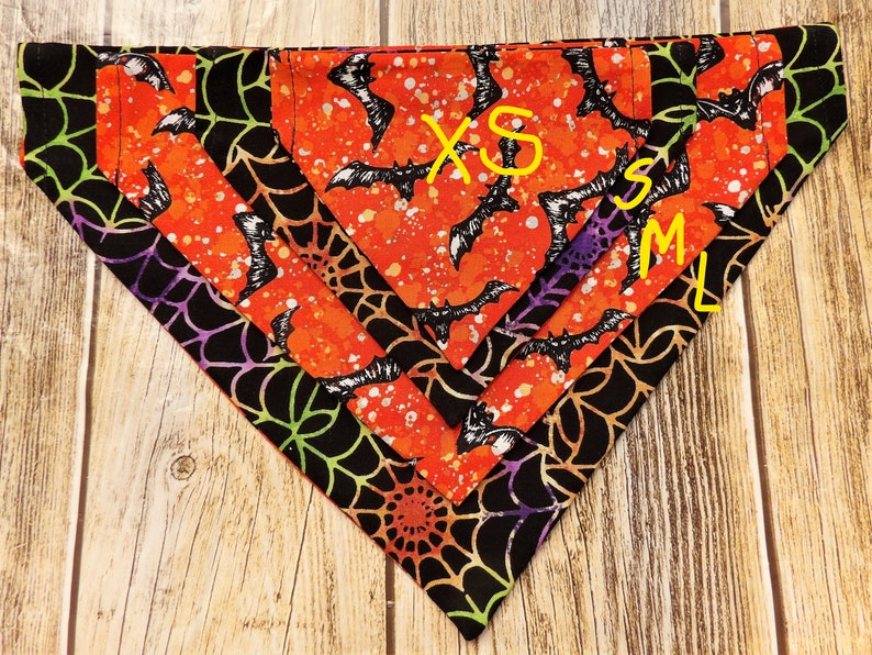 Spider Webs and Bats Dog Bandana Halloween Dog Bandana Bats Dog Bandana Spider Web Dog Bandana Orange Reversible Halloween Dog Bandana