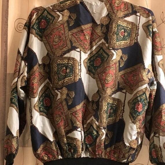 Robert Stock 100% Silk Bomber Jacket Vintage 90's - image 4