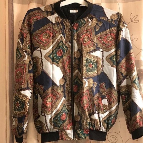 Robert Stock 100% Silk Bomber Jacket Vintage 90's - image 1
