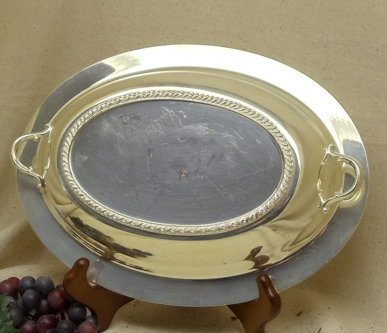 Braided Design Around Bottom Edge,antique silver bowl,#VH3027 Vintage Silver Plated Oval Serving Bowl with Handles