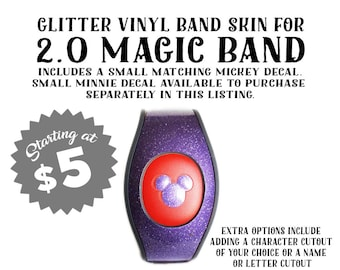 2.0 Magic Band GLITTER Vinyl Decal Skin with Optional Personalization