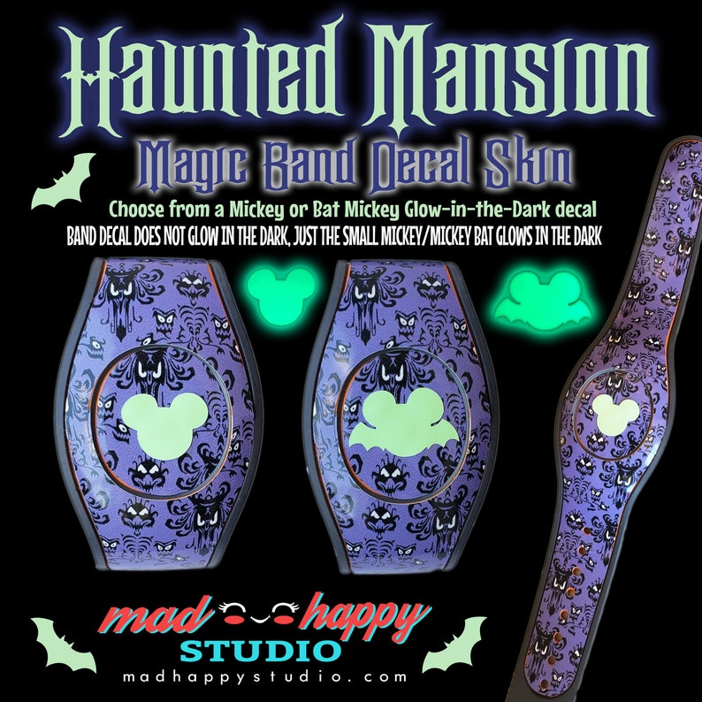 Haunted Mansion 2.0 Magic Band Decal Set Band with Mickey Bat
