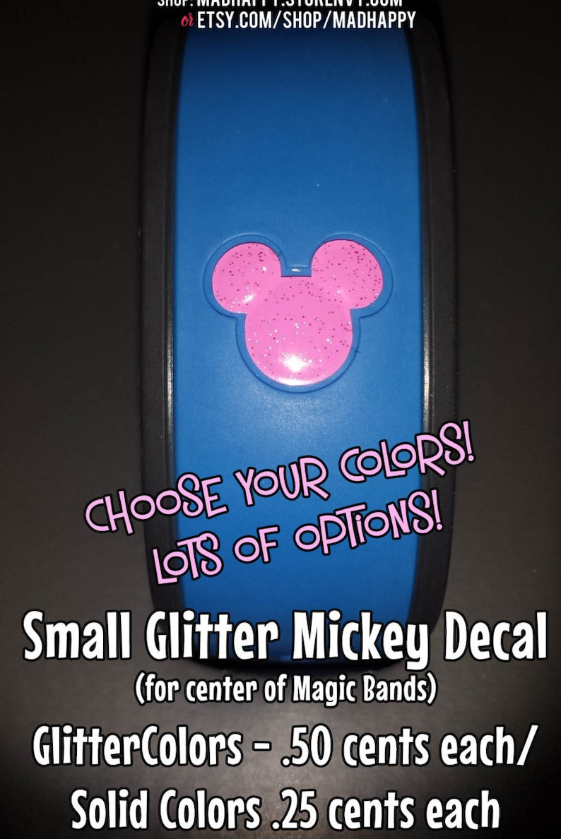 Small Mickey Vinyl Decal for Magic Band  Solid & Glitter image 0