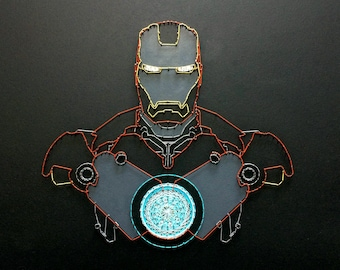 Iron Man String Art Avengers Iron Man Wall Art Marvel and DC Comics Home Decor