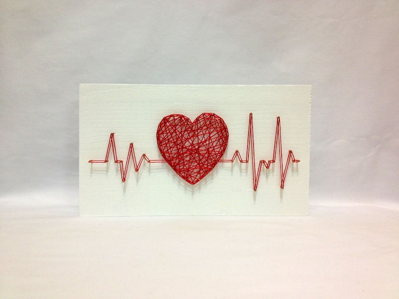 String Art Rhythm Heart Beat Sign Wall Art Decor image 0