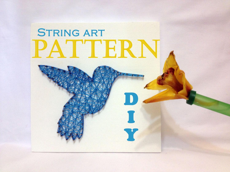 Diy String Art Pattern Hummingbird Bird Pattern And Tutorial Etsy