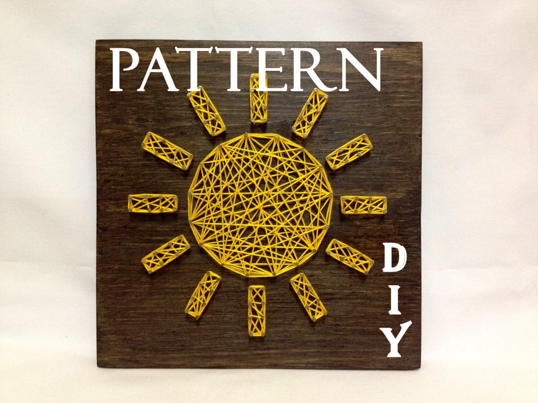 DIY String Art Pattern Sun Sunshine Pattern and tutorial