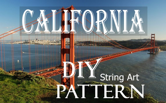 Сalifornia String Art Pattern State DIY, tutorial, Included Download 2 Sizes