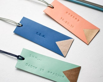 Personalised Bookmark, Handmade Leather Book mark, Gift For Him, Gift For Her, Unique Book Mark, Custom Leather Bookmarks, FREE UK Delivery